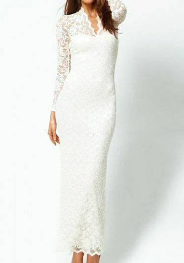 Baju Gaun Long Dress Brukat Putih Murah dan Cantik Model Terbaru