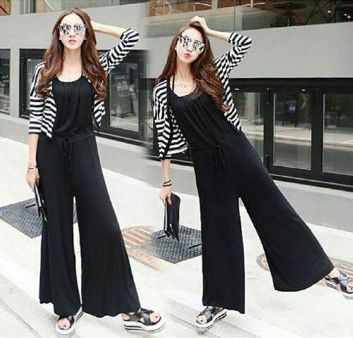 Baju Jumpsuit Kulot Celana Panjang Model Terbaru dan Cardigan Cantik