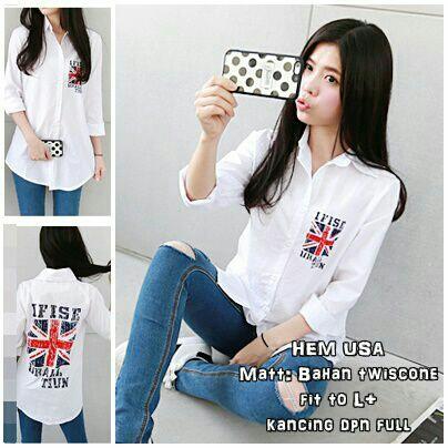 Baju Kemeja (Hem) Panjang Putih Wanita Murah Model Terbaru