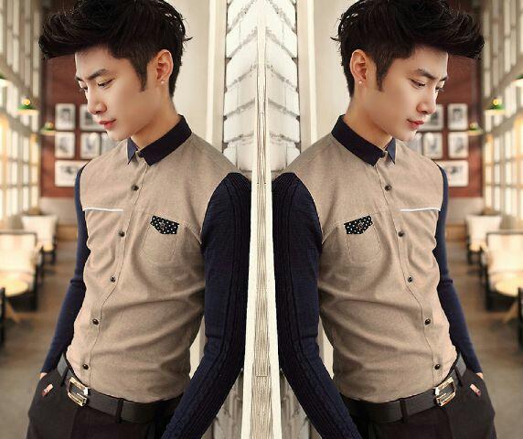 Baju Kemeja Kombinasi Pria Lengan Panjang Model Terbaru Keren