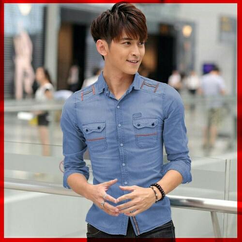 Baju Kemeja Pria Lengan Panjang Denim Model Terbaru Keren Murah