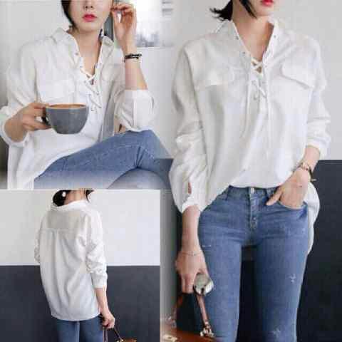 Baju Kemeja Wanita Lengan Panjang Warna Putih Model Terbaru