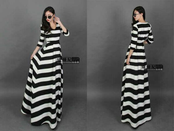 Baju Long Dress Cantik Motif Salur Belang Model Terbaru