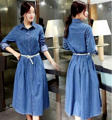 Baju Long Dress Denim Maxi Fashion Elegant Model Terbaru Murah