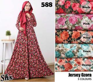 Baju Long Dress Lengan Panjang Motif Bunga Cantik