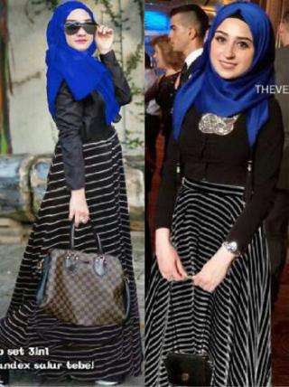 Baju Muslim Setelan Hijab Rok Belang Model Terbaru Cantik dan Modern