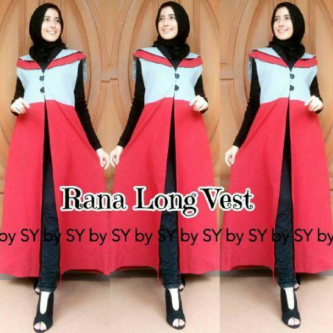 Baju Setelan Hijab Long Vest Wanita Dewasa 3 in 1 Model Terbaru