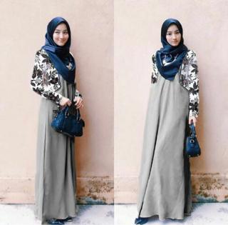 Baju Setelan Long Dress & Cardigan Muslim Wanita Modern Terbaru