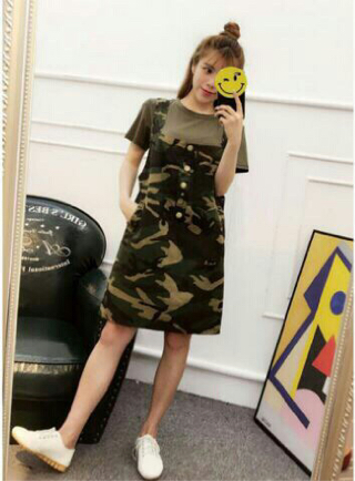 Baju Setelan Rok Kodok Overall Army Wanita Dewasa Model Terbaru