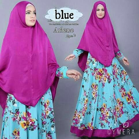 Model Baju Gamis Syari Muslim Wanita Terbaru Motif Bunga Cantik