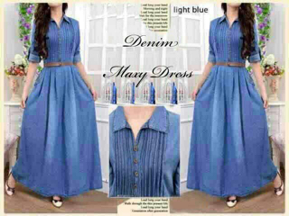 Model Baju Long Dress Maxi Denim Lengan Panjang Terbaru