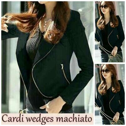 Model Cardigan Cantik Terbaru Warna Hitam Bahan Wedges Modern