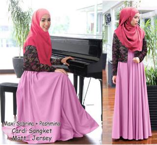 Model Gamis Terbaru Baju Setelan Hijab Cardigan 2 in 1 Modern