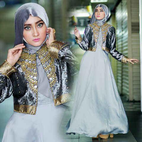 Model Gamis Terbaru Baju Setelan Muslim Wanita Modern Warna Abu