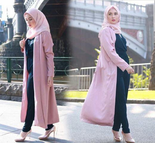 Model Jumpsuit Setelan Hijab Modis Cantik Terbaru dan Long Cardigan