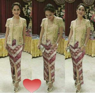 Model Kebaya Kutu Baru Setelan dengan Rok Batik Cantik Modern