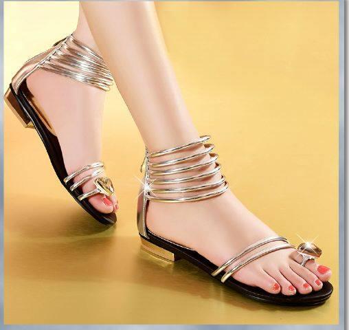 Sandal Teplek Cantik Model Terbaru Warna Emas (Gold)
