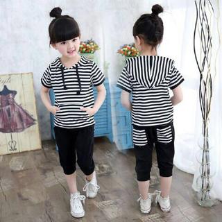 Setelan Baju Anak Cewek Motif Salur Belang Cantik dan Lucu Terbaru