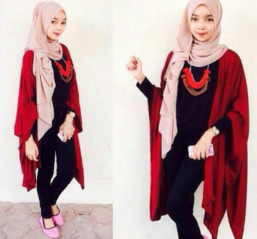 Setelan Hijab 4 in 1 Long Cardigan Baju Muslim Wanita Modern Terbaru