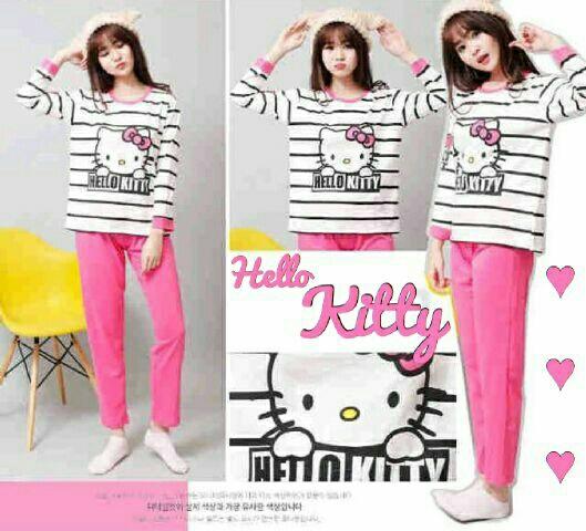 Setelan Piyama Hello Kitty Baju Tidur Wanita Dewasa Murah