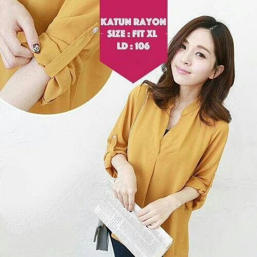 Baju Atasan Wanita Cantik Lengan Panjang Modis Warna Kuning