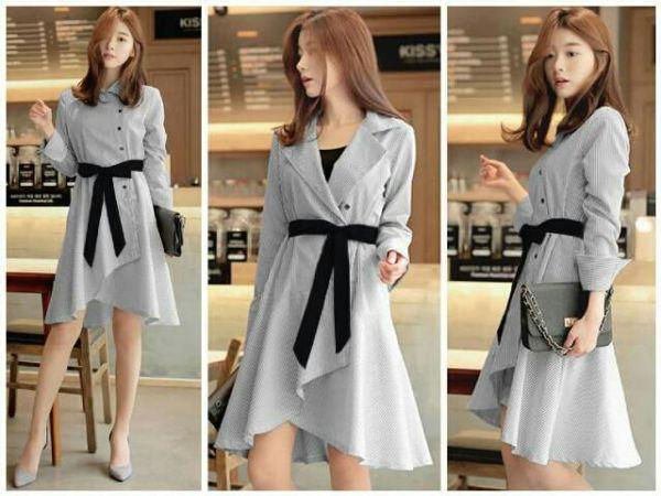 Baju Dress Pendek Lengan Panjang Motif Garis-garis Terbaru