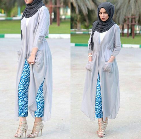 Baju Fashion Setelan Hijab Long Cardigan Modis Model Terbaru