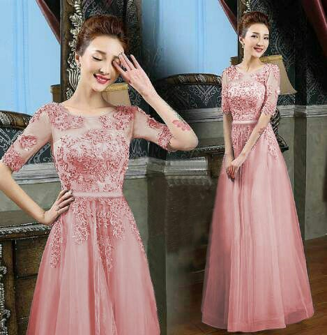 Baju Gaun Long Dress Brukat Cantik Modern Model Terbaru