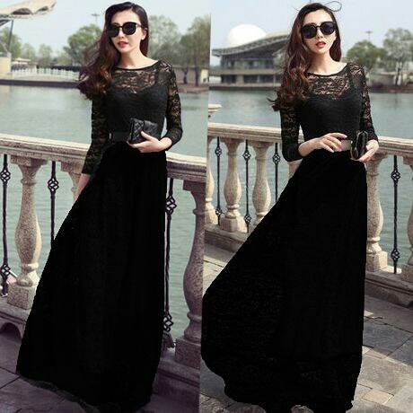 Baju Gaun Long Dress Brukat Warna Hitam Panjang Model Terbaru