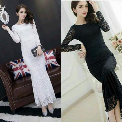 Baju Gaun Model Brukat Long Dress Lengan Panjang Terbaru
