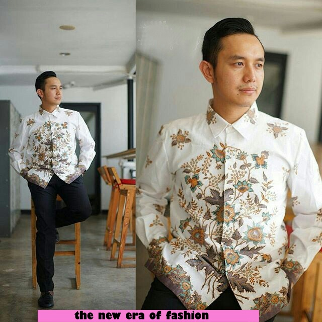 Kemeja Hem Pria Motif Batik Lengan Panjang Keren Terbaru