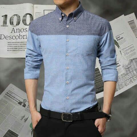 Baju Kemeja Lengan Panjang Pria Warna Kombinasi Model Terbaru