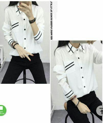 Baju Kemeja Perempuan Hem Putih Cewek Model Terbaru