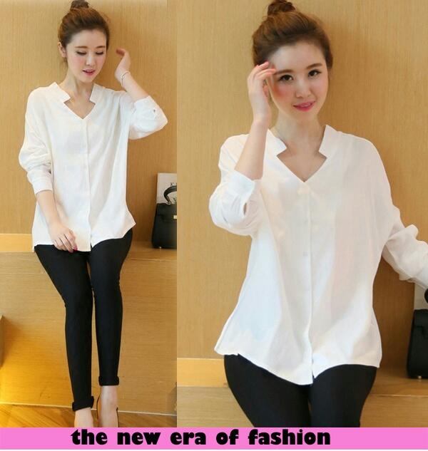 Baju Kemeja Wanita Lengan Panjang Warna Putih Polos Murah