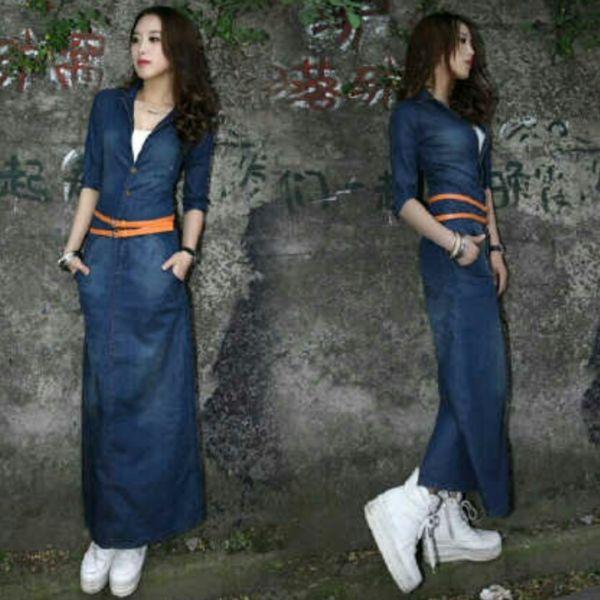 Baju Long Dress Jeans Cantik dan Modis Model Terbaru Murah