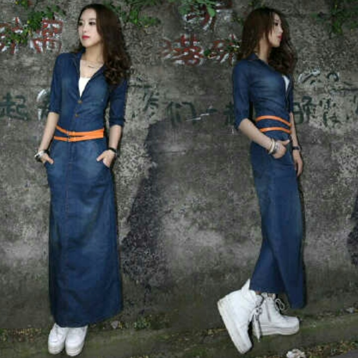 Baju Long Dress Jeans Cantik Dan Modis Model Terbaru Murah