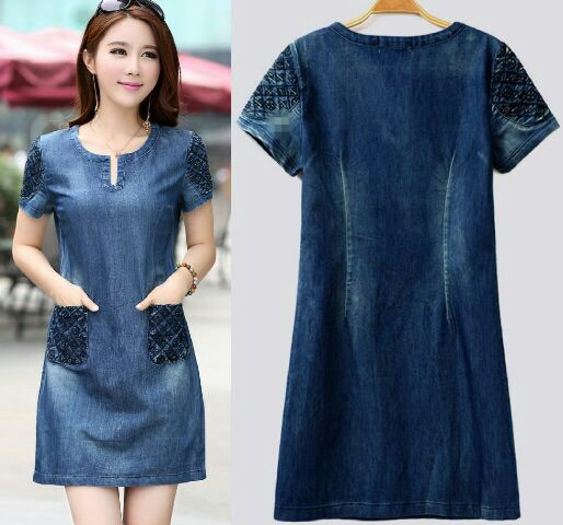 Baju Mini Dress Pendek Denim Cantik Model Terbaru