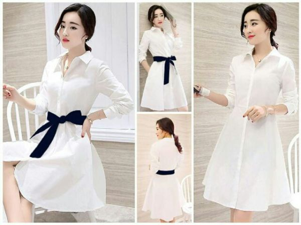 Baju Mini Dress Wanita Dewasa Warna Putih Cantik dan Murah