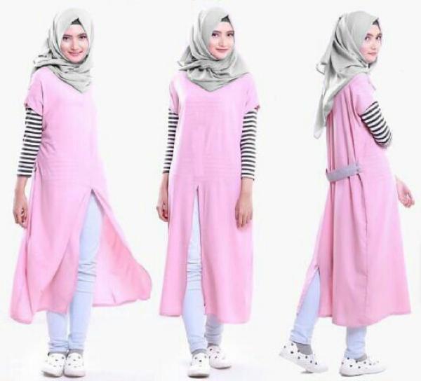 Baju Setelan Fashion Hijab Celana 3 in 1 Modis Model Terbaru