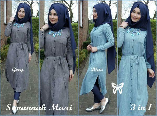 Baju Setelan Hijab Celana Modis 3 in 1 Denim Model Terbaru
