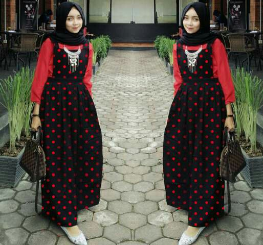 Baju Setelan Hijab Rok Kodok Overall Motif Polkadot Modis Terbaru