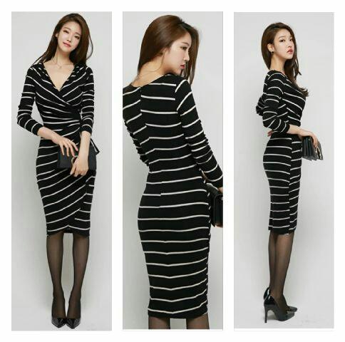 Model Baju Dress Hitam Motif Belang Salur Cantik Terbaru