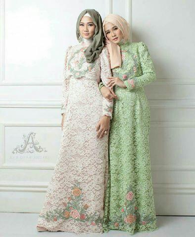 Model Baju Gamis Brukat (Brokat) Terbaru Setelan Hijab Modis