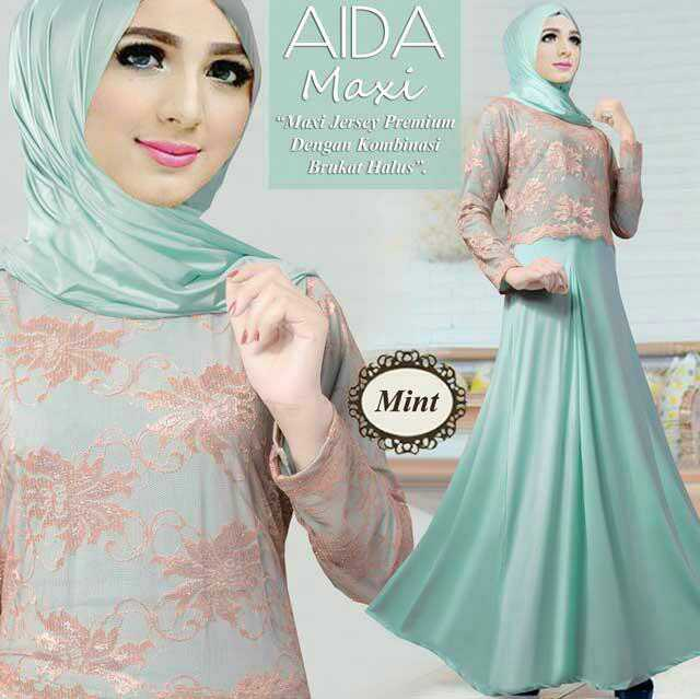 Model Baju Gamis Setelan Hijab Modern Terbaru Kombinasi Brukat