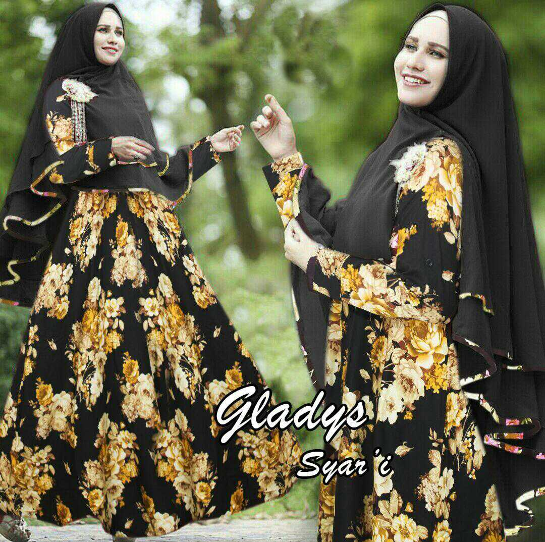 Model Baju Gamis Syari Busui Terbaru Motif Bunga Cantik Modern