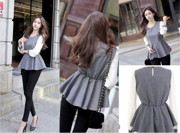 Model Baju Kaos Polos Lengan Panjang Cewek Modis & Cantik