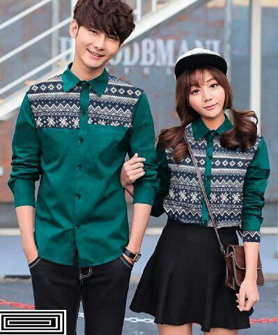 Model Baju Kemeja Couple Lengan Panjang Terbaru Modern