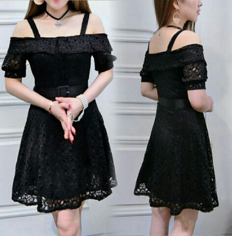 Model Baju Mini Dress Pendek Sabrina Warna Hitam Simple
