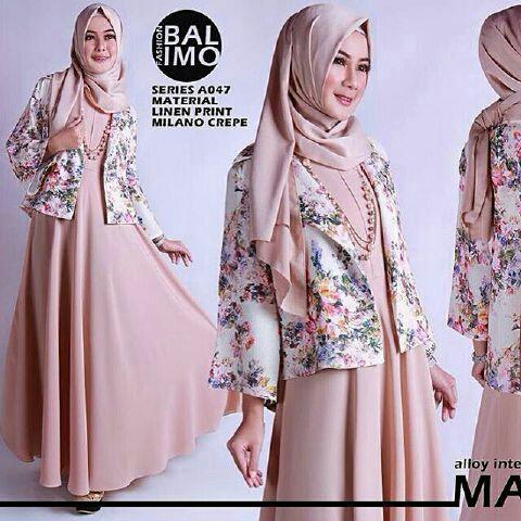 Model Baju Setelan Gamis Long Dress Muslim & Cardigan Terbaru