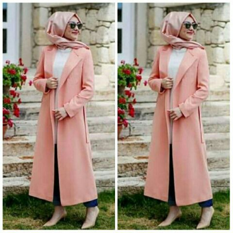 Model Baju Setelan Long Cardigan Fashion Hijab Wanita Modis Terbaru